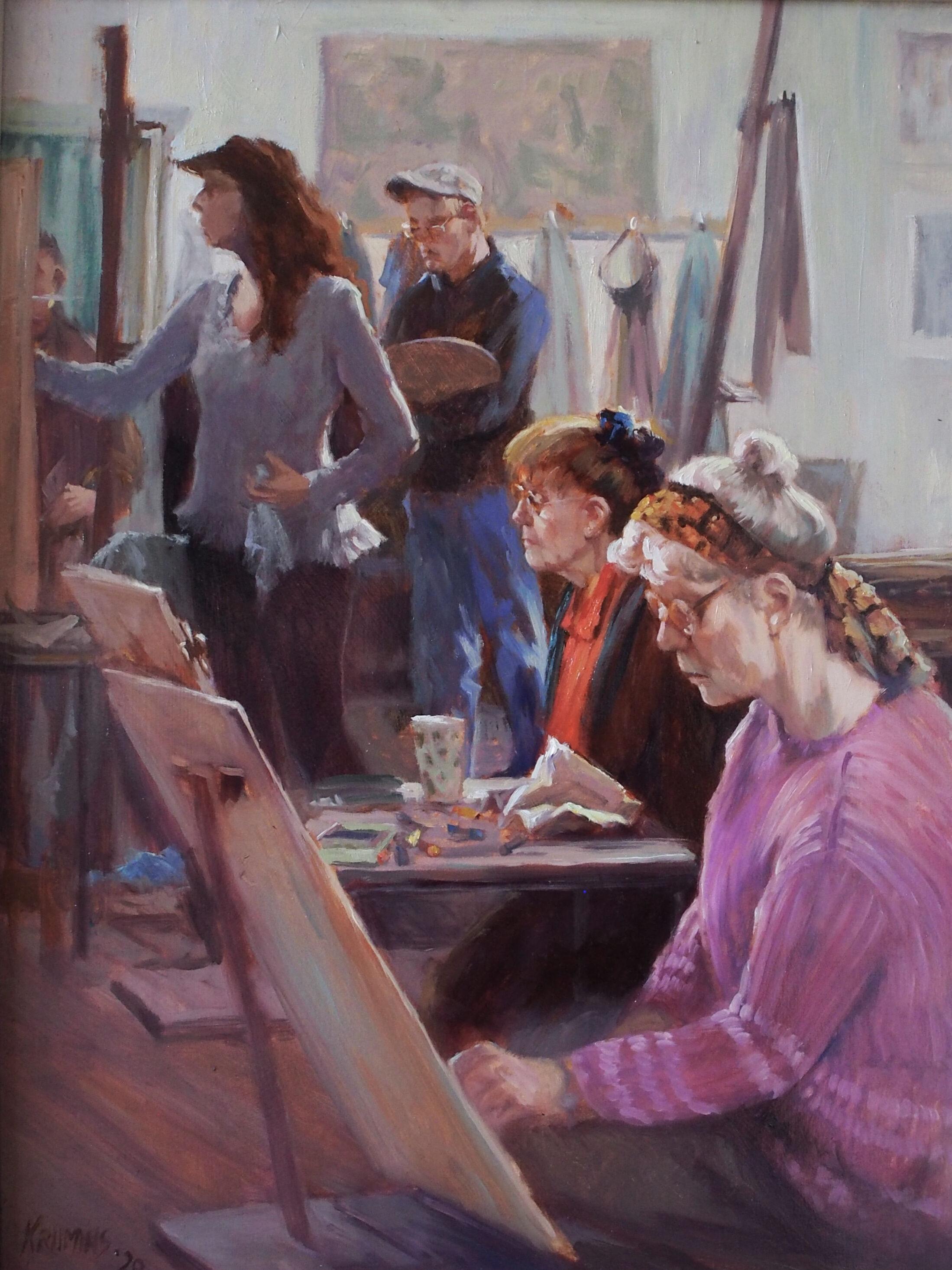 Artists Painting in the VAS Studio. Oil Painting by Gwen Krumins