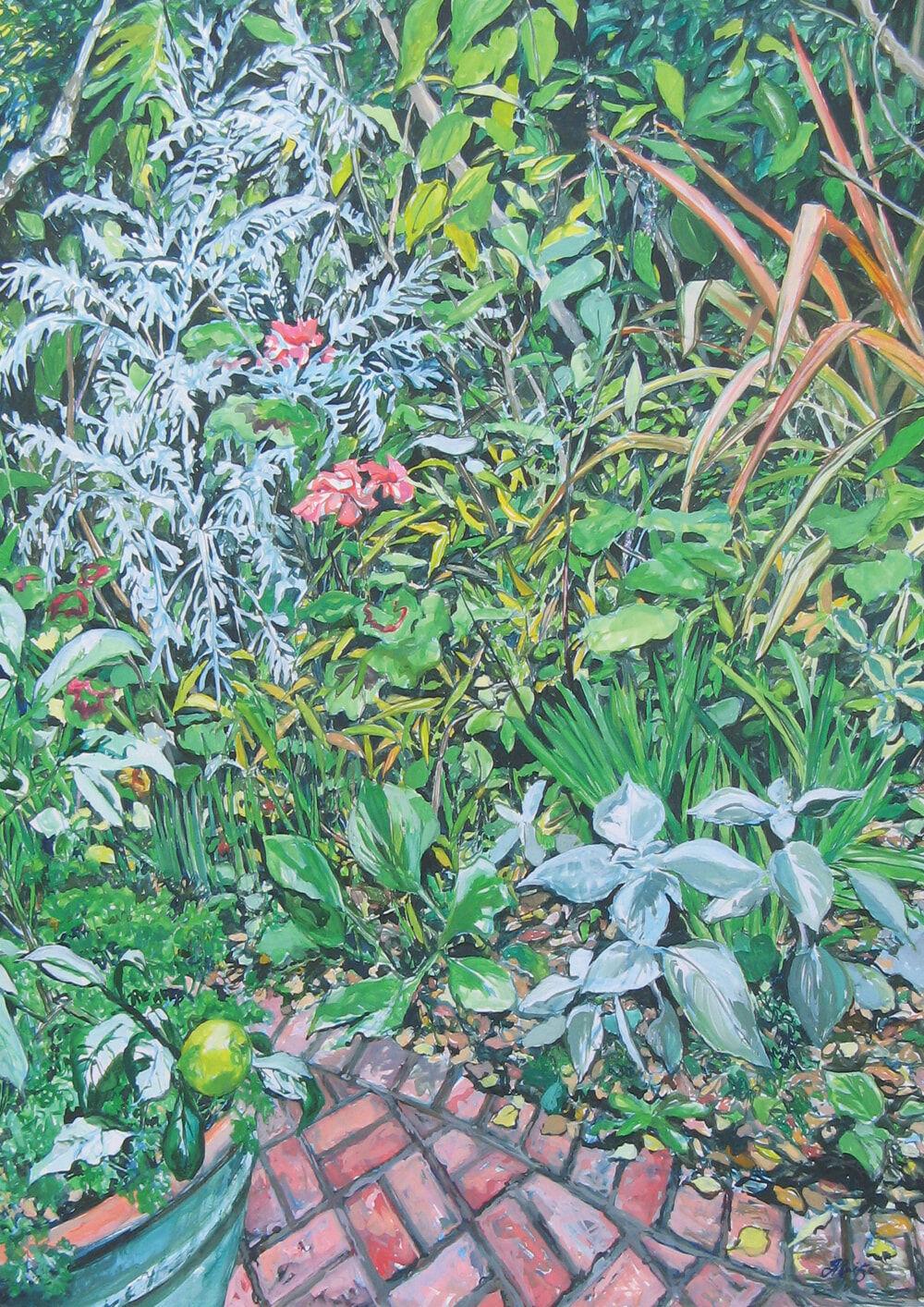 JO REITZE Winter garden gouache on board