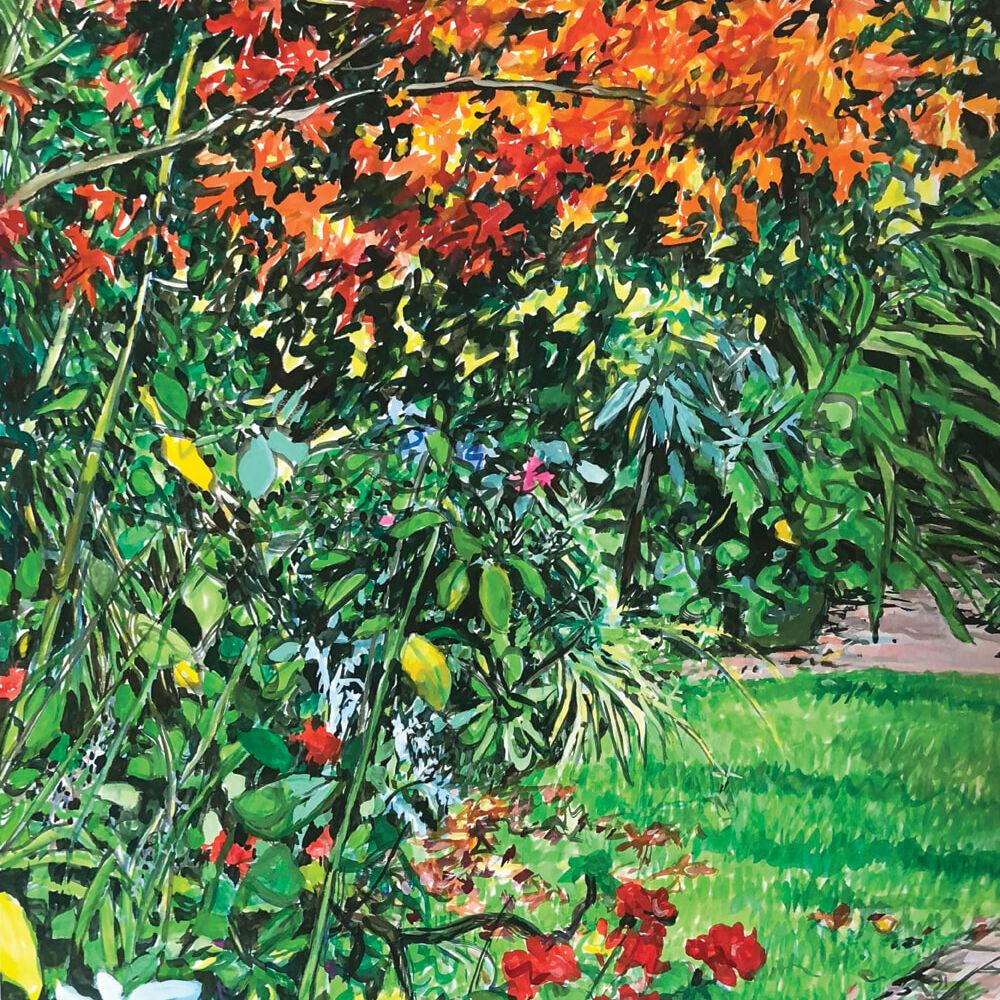 Jo Reitze Our Autumnal Garden gouache on board