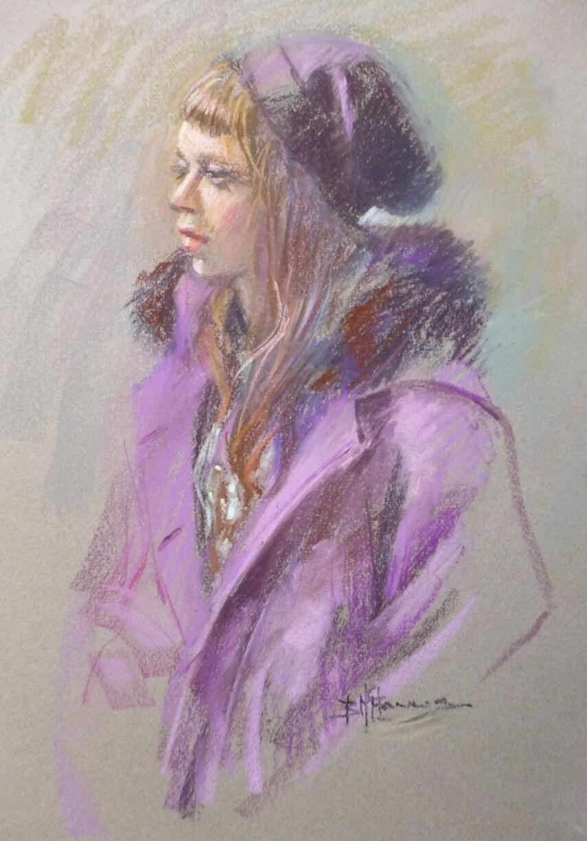 Barbara Mcmanus_Girl in Winter 24cm w X 40cm h_550 framed