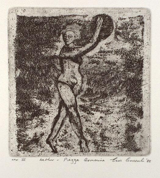 Eros A_bather - Piazza Armerina_etching 1988