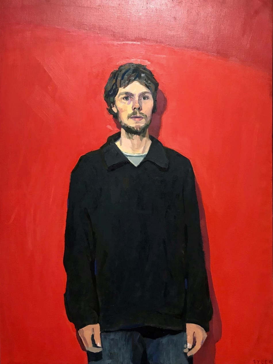 Tyler Arnold_'self portrait in black jacket'_oil on linen_Norma Bull winner 2019