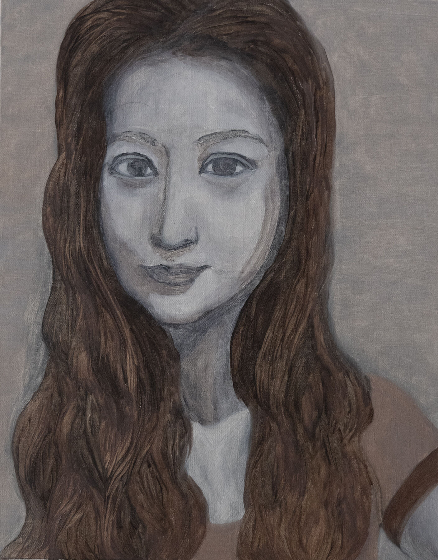 In the lockdown period, Lihong started her first self portrait painting.