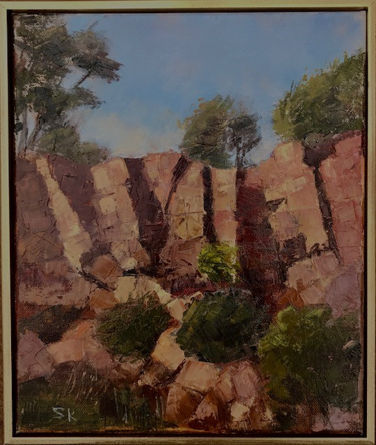 Werribee Gorge State Park, Victoria. Medium is Oil. Stretched Canvas 10 inches x 12 inches