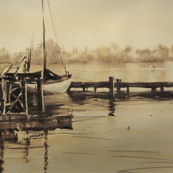 Jon Lam. At Peace. Watercolour 55x73cm. Exhibition3 - Copy