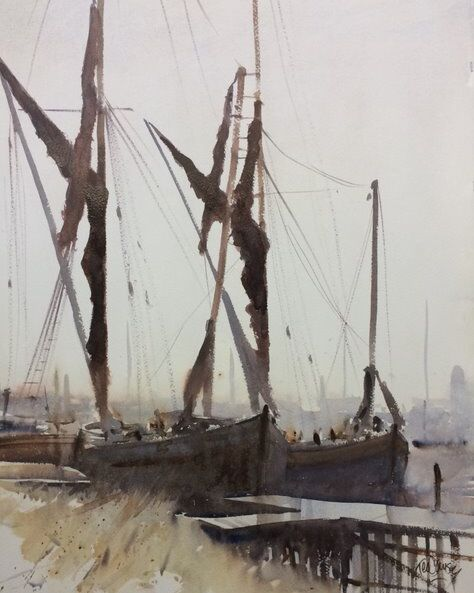 2018 Maritime Winner -Thomas Somerscales Trophy - Ted Dansey - Splitsail Barges, watercolour