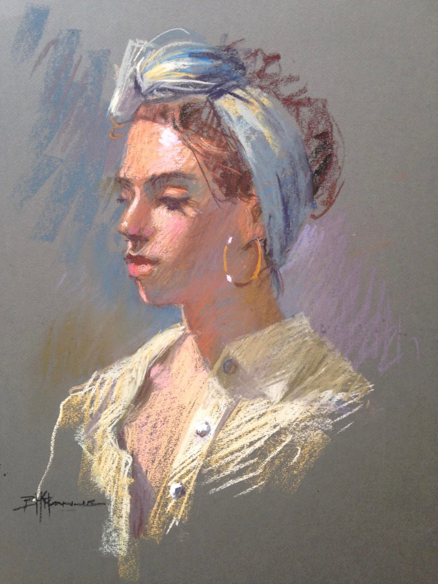 21a_Barbara McManus_Girl in a Green Scarf_Pastel._