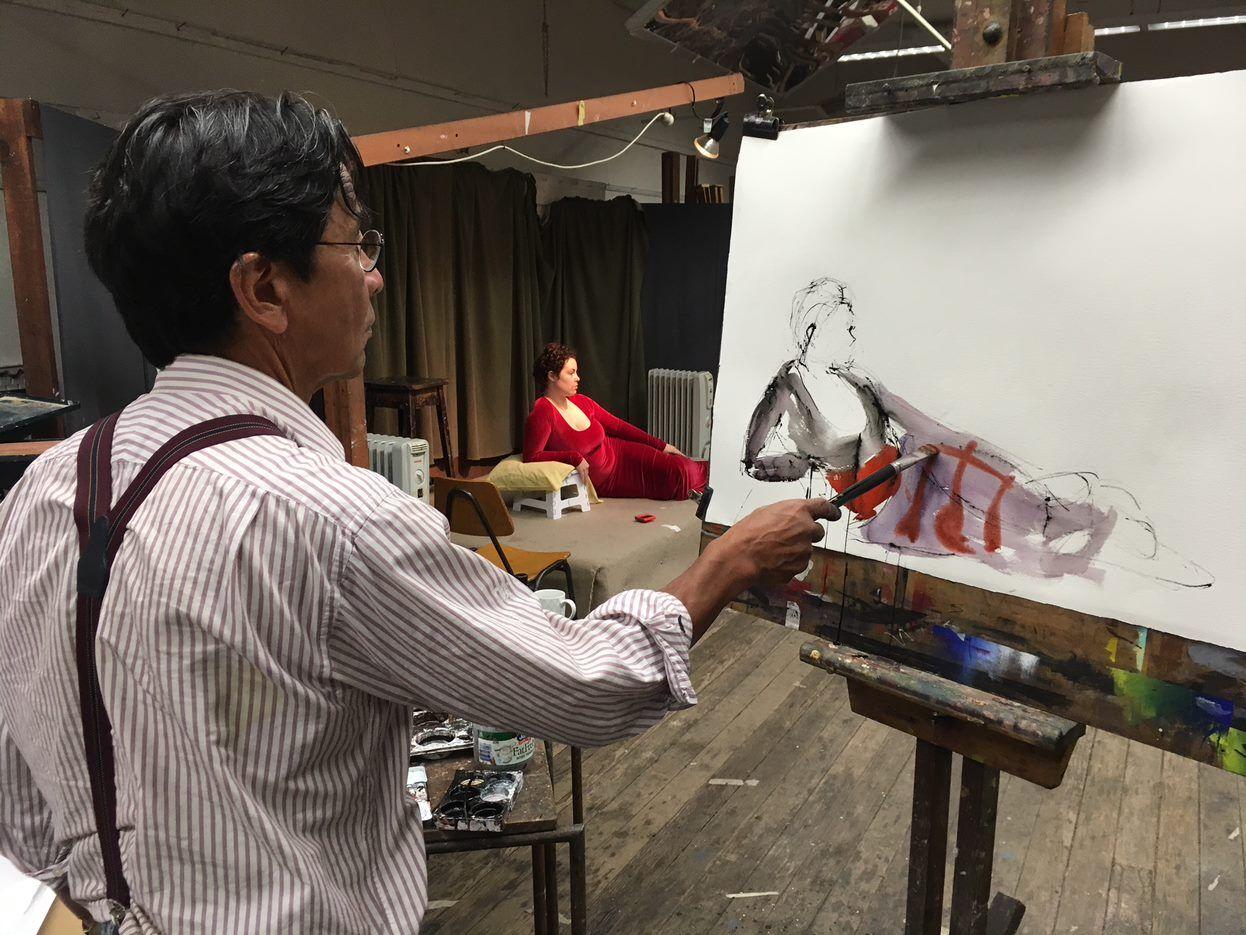 Hans Van Weerd Painting in studio