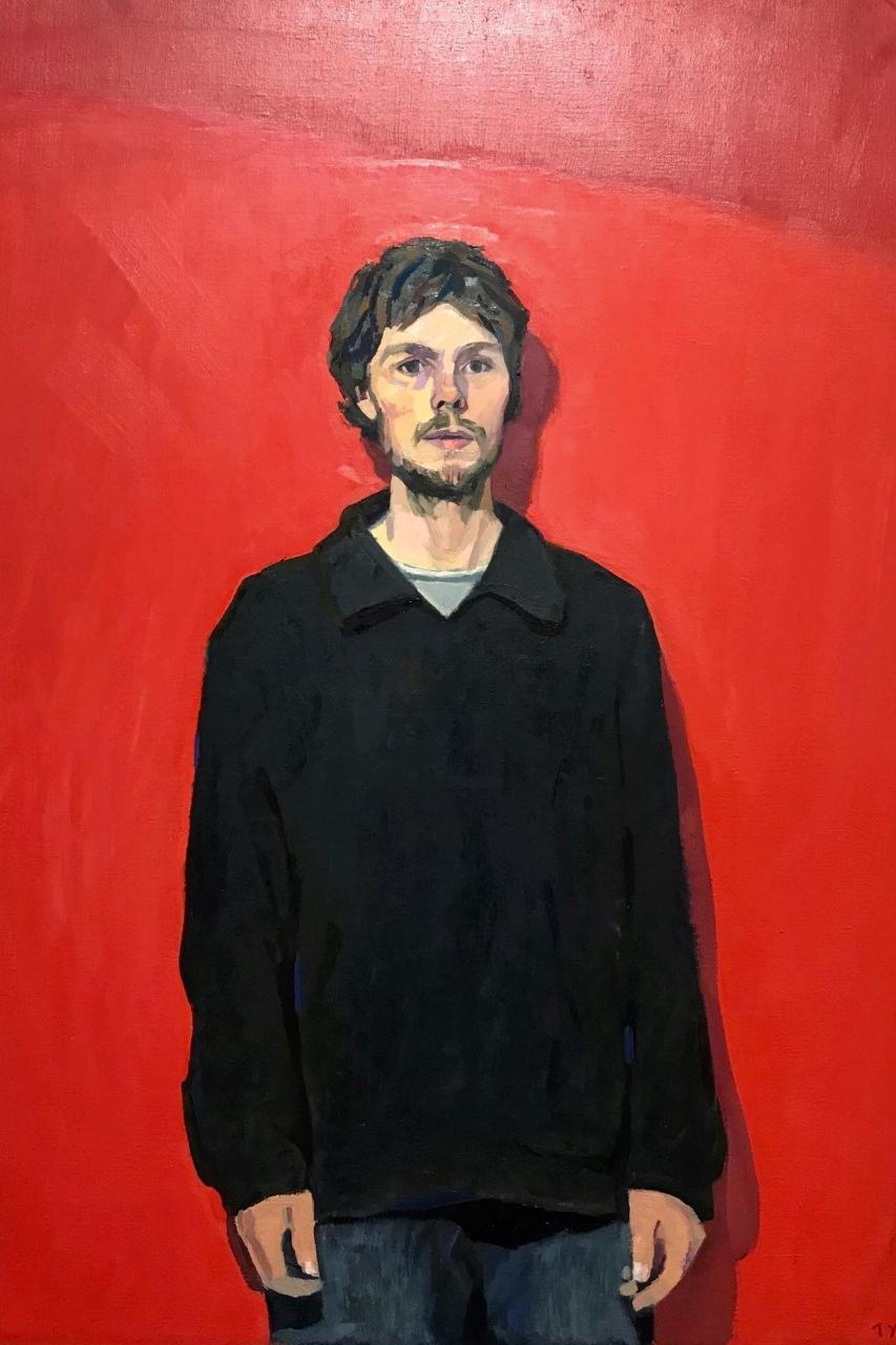 Tyler Arnold_'self portrait in black jacket'_oil on linen_Norma Bull winner 2019