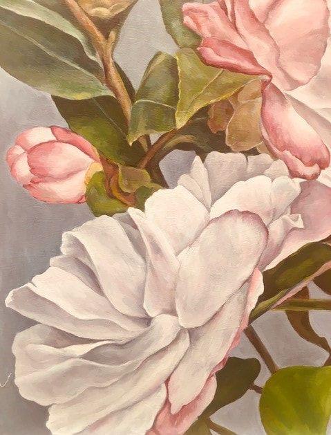 54_Aloma Treister_Pink on Grey_Oil on Textured Canvas