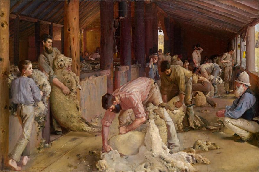SHEARING THE RAMS, 1888-1890 by Tom Roberts