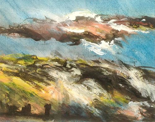 'Tormented Cloudscape' pastel by Joseph Luczynski