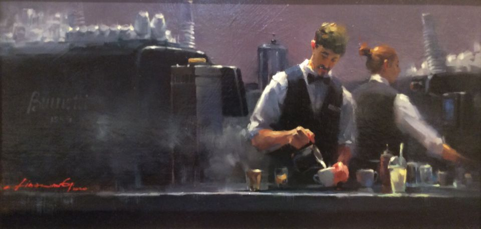 'Baristas at Brunetti, Melbourne' oil on canvas by Lisa Wang - Highly Commended Award