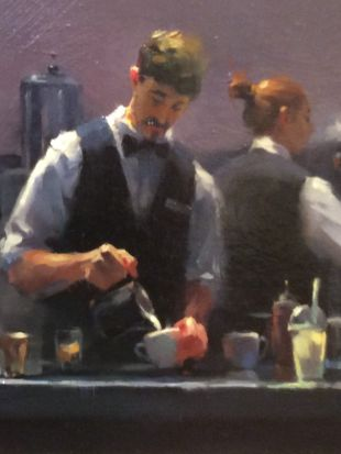 'Baristas at Brunetti, Melbourne' oil on canvas by Lisa Wang - Highly Commended Award cropped