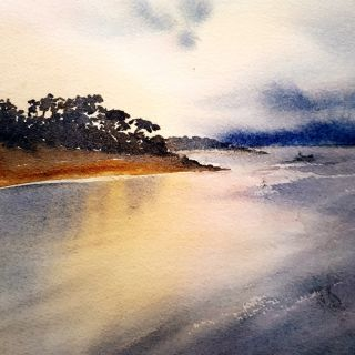 Jan Lowe_Tranquility, Cowes Vic AU; WC on HP; 110x50cm