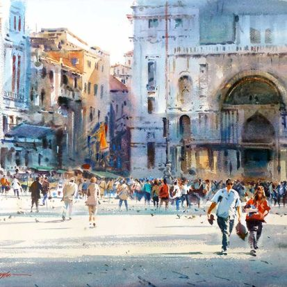 The-Brief-and-the-busy-Venice-75cmx56cm-by-David-Taylor-75cm-x56cm-2000